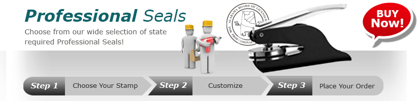 We offer a full line of Professional Engineer and Architect Seals and Stamps for Every State. Fast Shipping